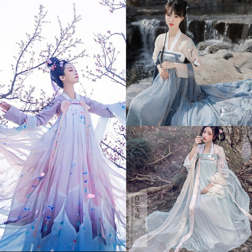 2020 11Colors Vintage Women Hanfu Dress Square Collar Tang Suit Set Fairy Girls Ancient Elegant Wedding Dress Stage Performance