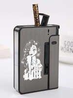 Caja para cigarrillos de Metal y plástico, 10 palos, tentador, diseño creativo, belleza, tatuaje para mujer, texto, LOGO, hecho a medida