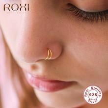 ROXI moda parlak çift yuvarlak burun yüzükler kadınlar için erkekler vücut burun Piercing kıkırdak takı 925 ayar gümüş Piercing Nez