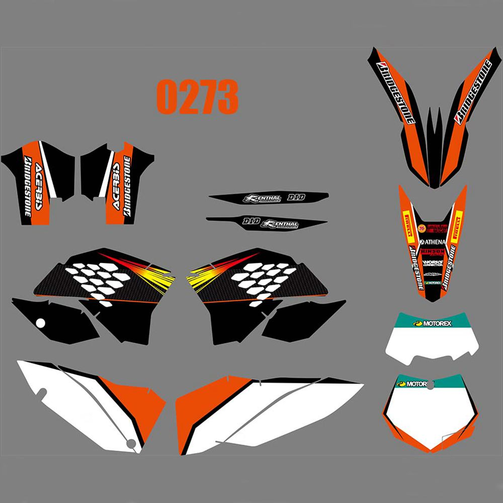 For <font><b>KTM</b></font> <font><b>EXC</b></font> XCF 125 250 450 530 <font><b>2008</b></font> 2009 2010 2011 Full <font><b>Graphics</b></font> Decals Stickers Custom Number Name Glossy Bright Stickers image