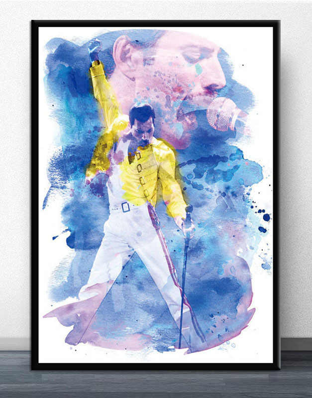פרדי מרקורי 1986 מלכת Legendery זינגר כוכב קיר תמונות לסלון קיר פוסטר עיצוב בית ציור שמן ציור