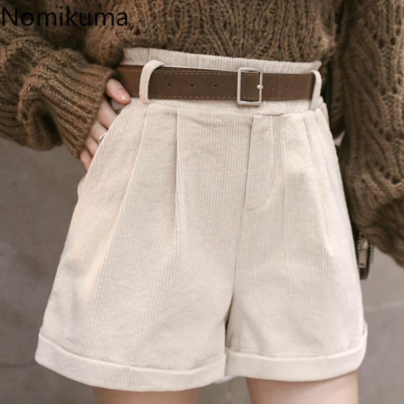 Nomikuma Black Wide Leg Short Pants Women Solid Color High Waist Sashes Lace Up Shorts Female 2020 Spring New Arrival 3a401