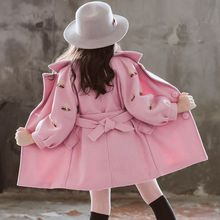 Коллекция года, зимние длинные хлопковые куртки для девочек Детская верхняя одежда для детей ясельного возраста повседневное шерстяное пальто с отложным воротником
