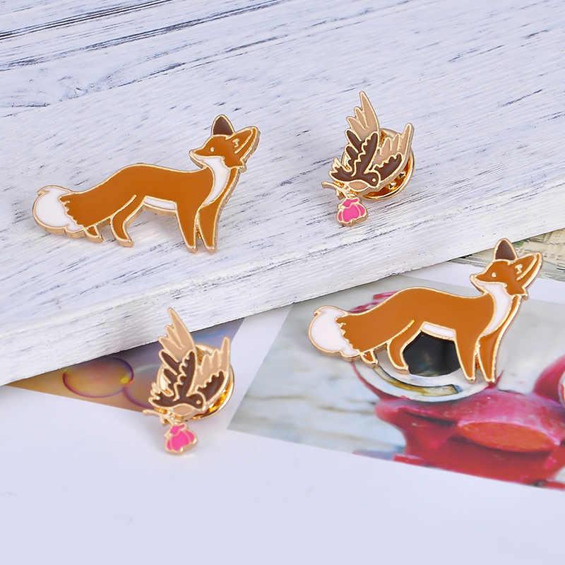 Yüksek kaliteli yeni sevimli karikatür hayvan pimleri kuş tilki emaye Pin broş yaka broş kadınlar erkekler için Denim yaka rozeti takı hediye