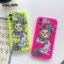 USLION Visage Soleil Fluorescence Pour iPhone 12 MiNi 7 11 Pro Max 7 8 Plus X XR XS MAX XS Dessin Animé Housse de protection en TPU Coque