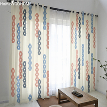 Nordic Tulle Curtains For Living Room Geometric Decoration White Bedroom Window Curtain Modern Sheer