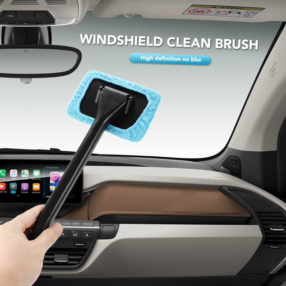 Microfiber Car Window Cleaner Handy Auto Window Dust Fog Moisture Cleaner Wash Brush Windshield Towel Washable Car Cleaning Tool