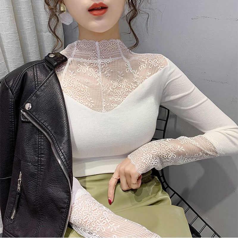 여자 우아한 레이스 블라우스 여성 섹시한 메쉬 긴 소매 셔츠 탑 플러스 크기 패션 꽃 자수 중공 솔리드 블라우스