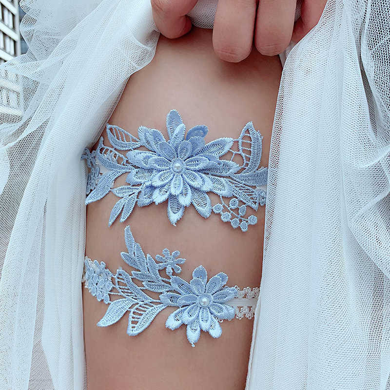 2pcs Wedding Garter Navy White Embroidery Floral Sexy Garters Women/Female/Bride Thigh Ring Bridal Lace Leg Ring