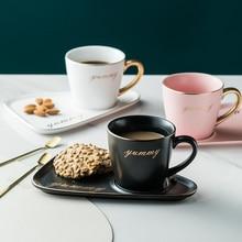 Gold Rim ceramic Coffee mug tumbler Tea Cup and Saucer Set porcelain gold spoon mugs cute dessert cups bone china tea sets