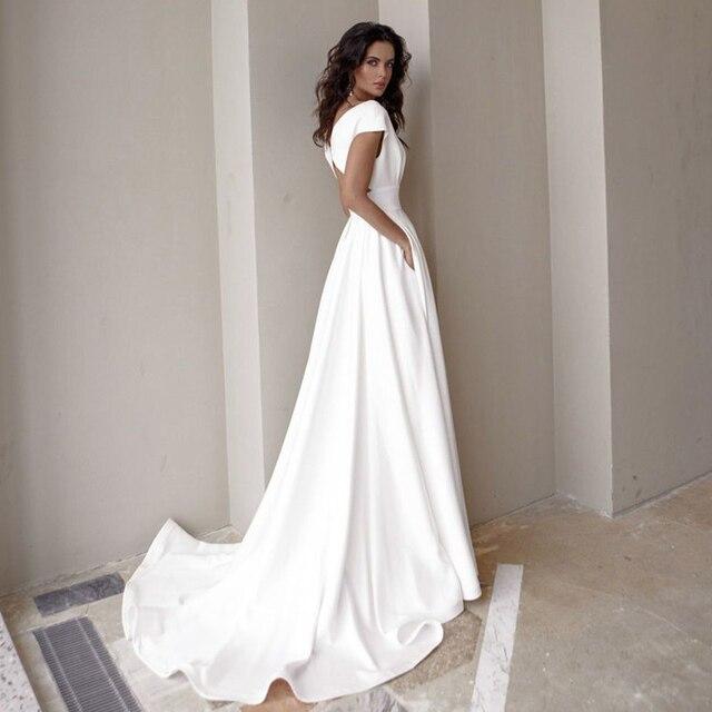 Modesto vestido de noiva com decote em v 2021 moda manga curta varredura trem fenda uma linha vestido de noiva com bolsos 5