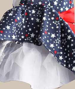 Image 5 - Star Print Red Bow 100% Cotton Layers Baby Girls Dress 1 year birthday party wedding kids clothes infant toddler wear 3M 6M 12 4