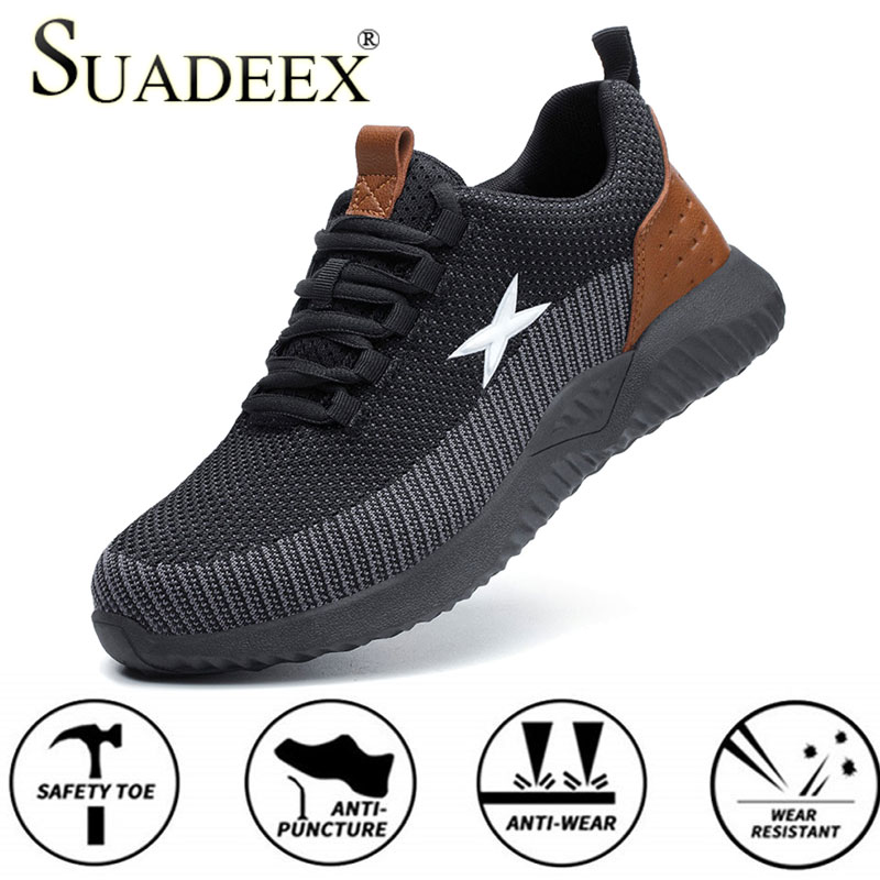 SUADEEX Safety Work Shoes For Men Steel Toe Cap Indestructible Work Boots Anti-smashing Men Safety Boots 2020 New Working Shoes