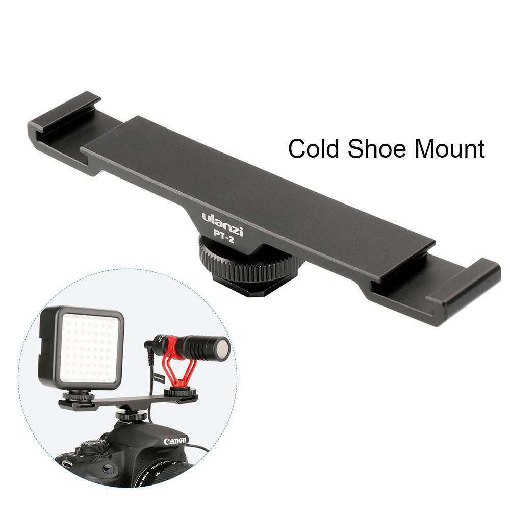 PT-2 Double Hot Shoe Mount Adapter Flash Microphone Bracket Holder for DV DSLR Microphone Light Accessories