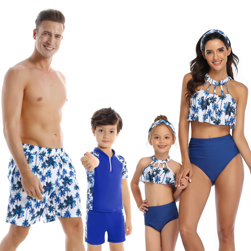 H237e179b41f645a1ba52346b40b0b91f8 - Summer Family Matching Outfits Swimwear Mother Daughter Kids Swimsuit Bikini Bathing Suit Father Son Shorts Swimwear Clothes
