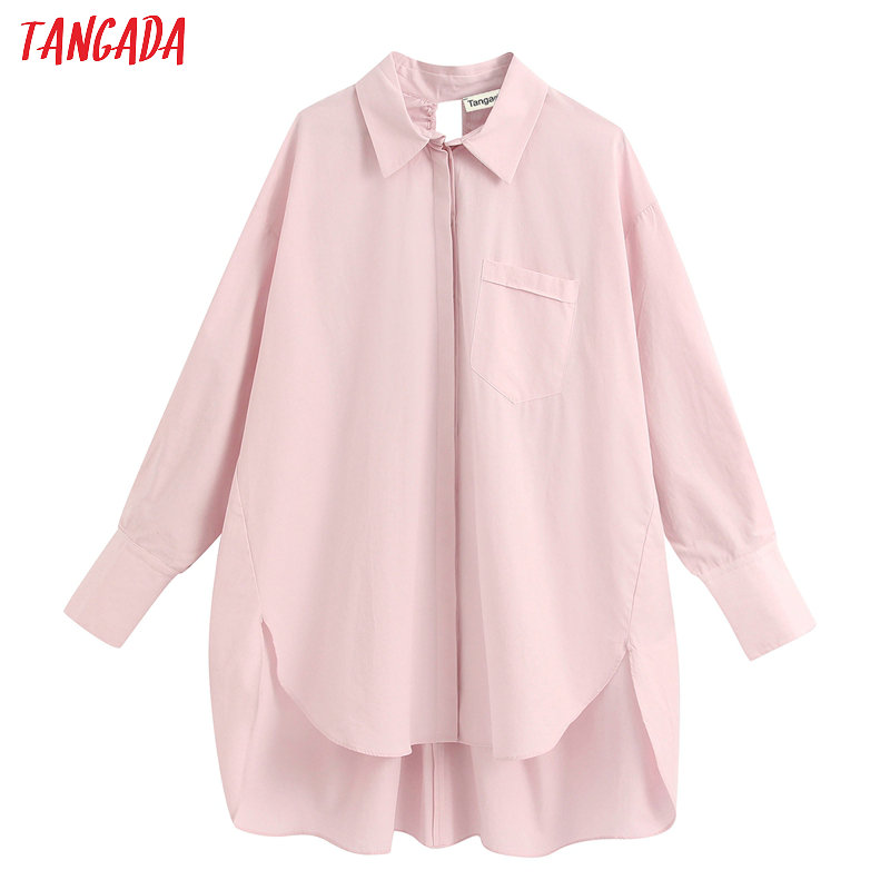 Tangada Women Retro Oversized Pink Blouse Korean Style Long Sleeve Chic Female Backless Shirt Blusas BE355