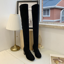 2019 New Over The Knee Boots Women Fashion Slip On Thigh High Boots Women Black Suede Boots High Heels Sexy Boots Winter Autumn недорого
