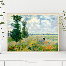 Claude Monet Poppies at Argenteui Landscape Oil Painting on Canvas Art Wall Picture Impressionist for Living Room Cuadros