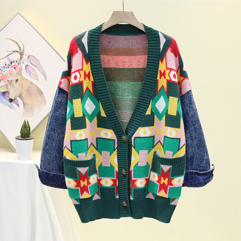 2019 зимний женский кардиган, свитер с v образным вырезом, Свободное пальто с джинсовыми рукавами, Женское пальто, винтажные Теплые Топы, Женский вязаный свитер, пальто для женщин