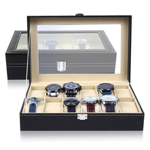 Window Black Leather Watch Box Case Professional Holder Organizer For Clock Watches Jewelry Boxes Travel Case Display Best Gift tanie tanio Watch Boxes Fashion Casual 20cm New without tags 02529414 Rectangle 10cm Mixed Materials