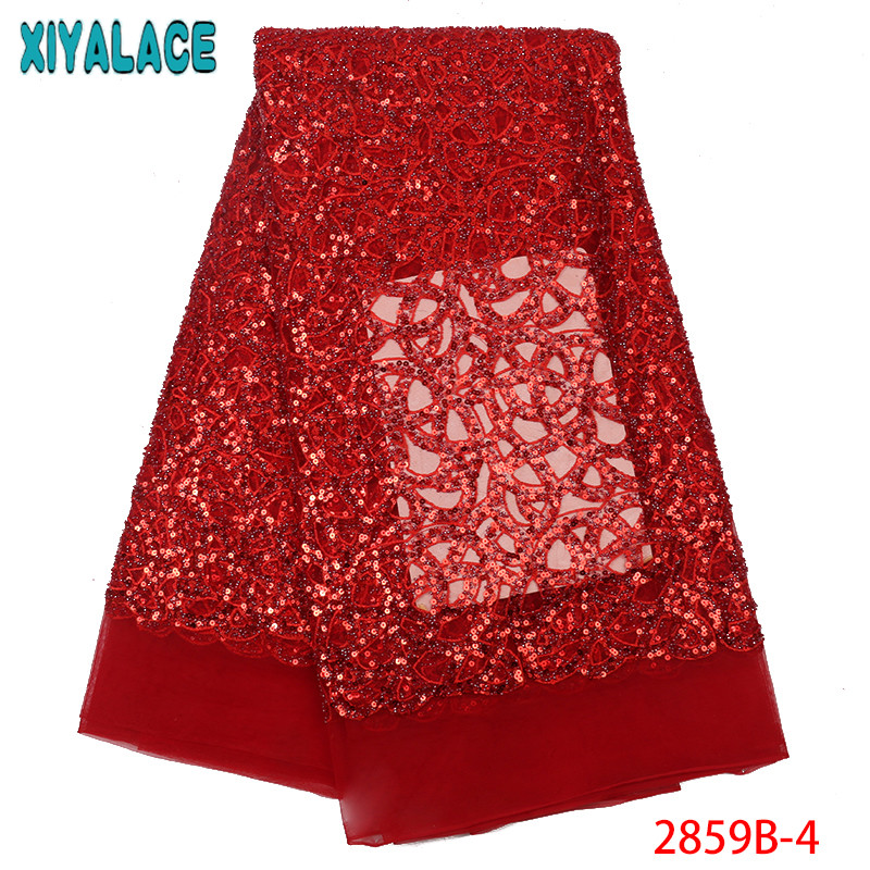 Latest African Lace Fabric 2019,High Quality Beaded Lace,French Tulle Lace Fabric With Beads for Women Dresses KS2859B-4