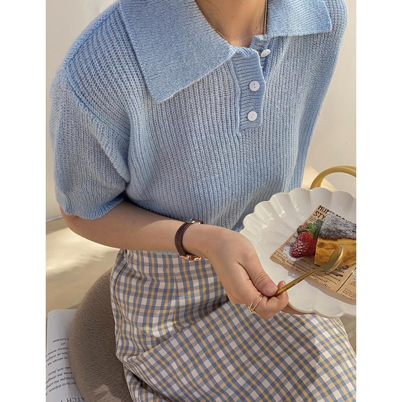 2021 Spring Summer Knitted Polo's Shirt Lapel Short Sleeve T-shirt Women's Thin Sweater Top