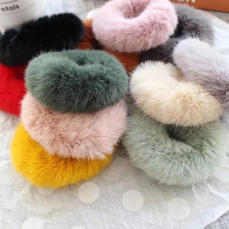 New Mink Elastic Faux Rabbit Fur Scrunchie Hair Tiara Adult Simple Solid Color Soft Plush Hair Band For Women Hair Accessories