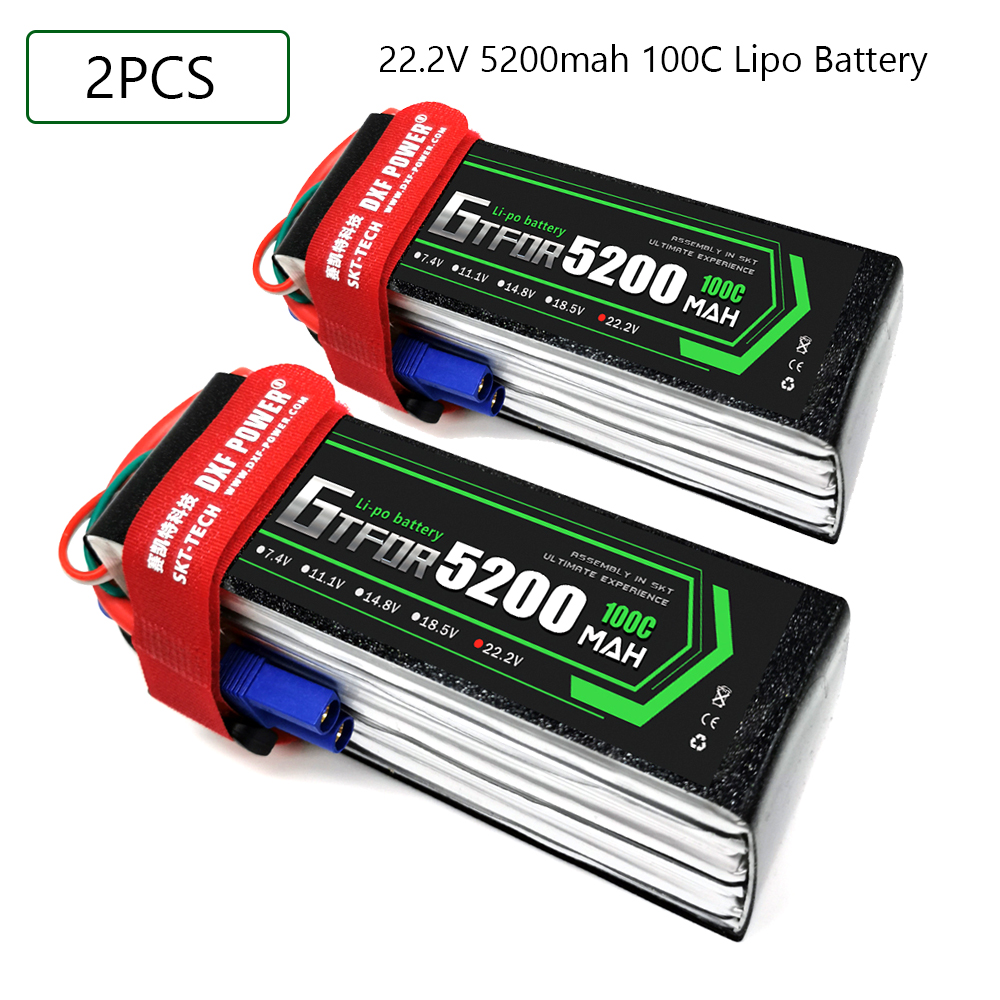 GTFDR <font><b>6S</b></font> 22.2V <font><b>5200mah</b></font> 100C-200C <font><b>Lipo</b></font> Battery <font><b>6S</b></font> XT60 T Deans XT90 EC5 For FPV Drone Airplane Car Racing Truck Boat RC Parts image