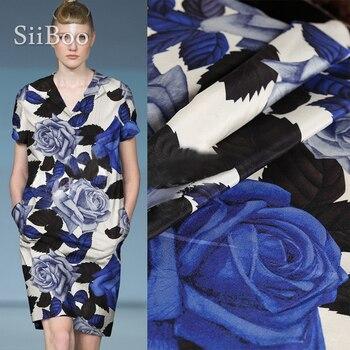 Fashion blue rose printed super heavy 30mm crepe de chine silk fabric for autumn long dress telas para vestidos tessuti SP5850