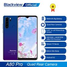 Blackview هاتف A80 Pro نسخة عالمية 4G, ذاكرة 4 جيجابايت + 64 جيجا بايت بطارية 4680 مللي أمبير في الساعة كاميرا خلفية رباعية شاشة 6.49 Waterdrop