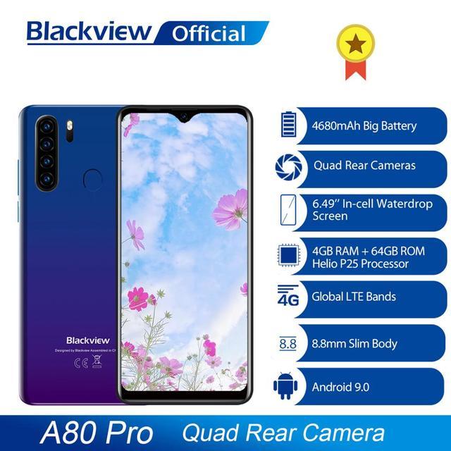 Global Version Blackview A80 Pro 4GB+64GB 4680mAh Mobile Phone Quad Rear Camera 6.49 Waterdrop Cellphone 4G Celular Smartphone