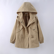 women coat Autumn New Korean Version Loose Large Size Womens Art Leisure Drawstring A of The Hooded Windbreaker Coat
