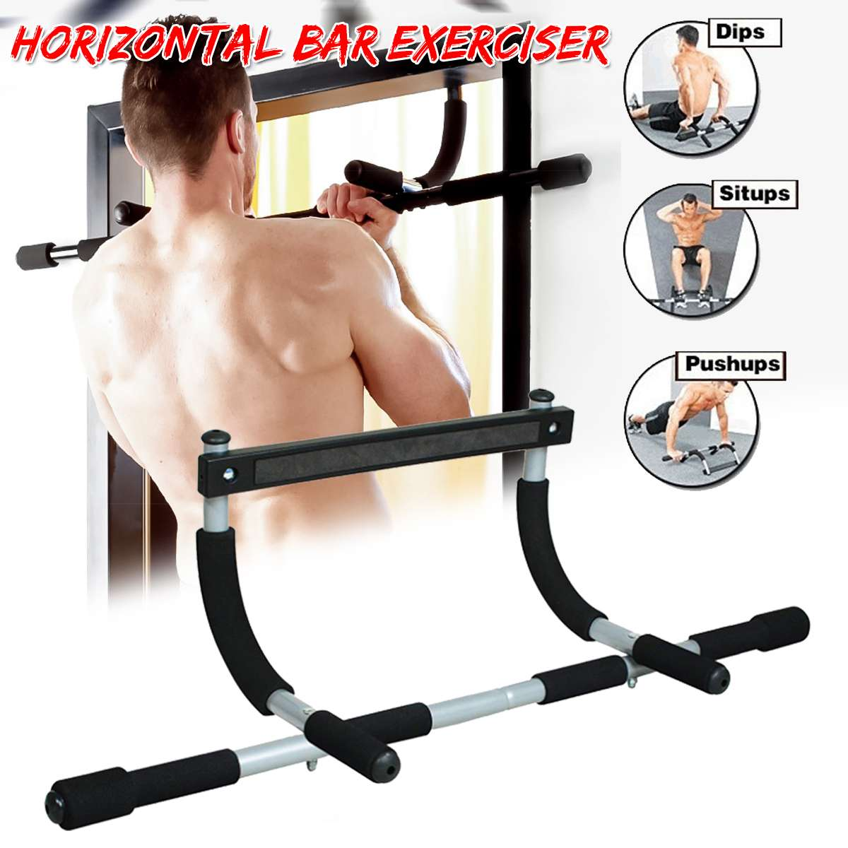 SGODDE Door Horizontal Bars Steel Home Gym Workout Chin Push Up Pull Up Training Bar Sport Fitness Sit-ups Equipments Heavy Duty