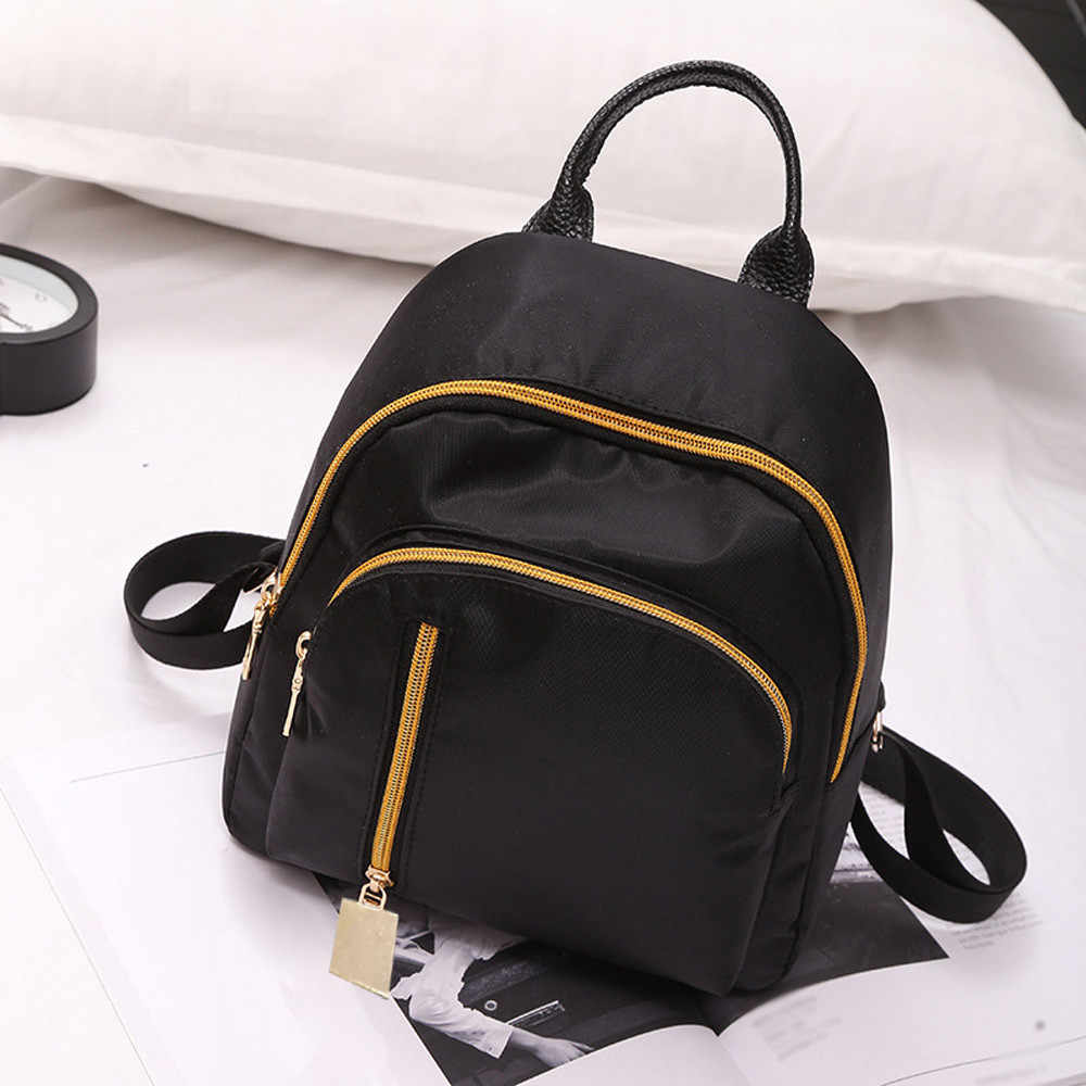 Women Girl Cloth Backpack Student Satchel Travel School Rucksack Bag Vintage Oxford Cloth Solid Zipper Soft Backpacks Students