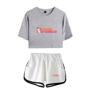 New Charli DAmelio Ice Coffee Splatter Women Two Piece Set Shorts+lovely T-shirt Sexy charli damelio merch Sport suit Girl 10