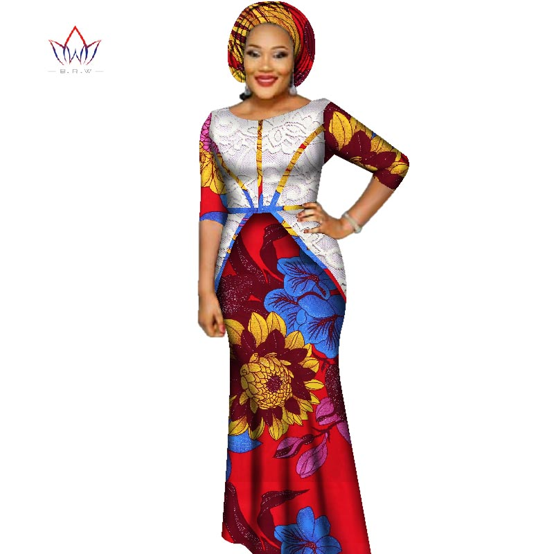 2020 African Bazin Dresses For Women African Half Sleeves Dresses For Women In African Clothing Wax Dashiki Fabric 6xl WY2393
