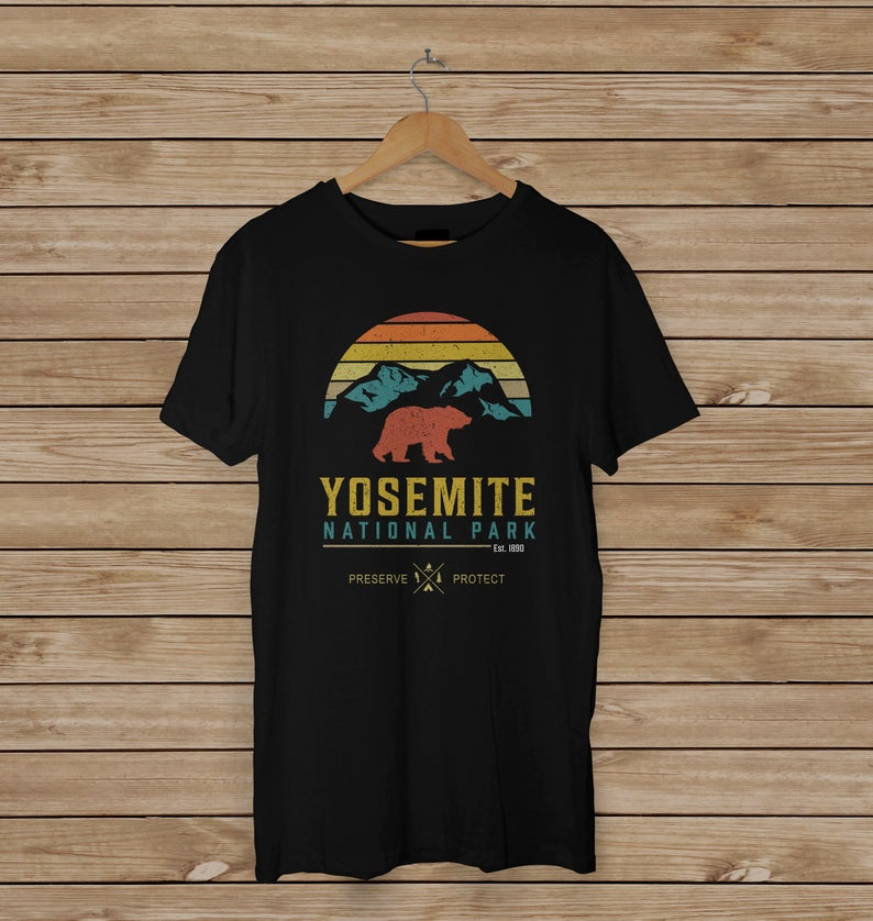 Yosemite National Park Shirt, National Parks Souvenir, California Yosemite Park Shirt, Black Bear T-Shirt, Respect The Locals image