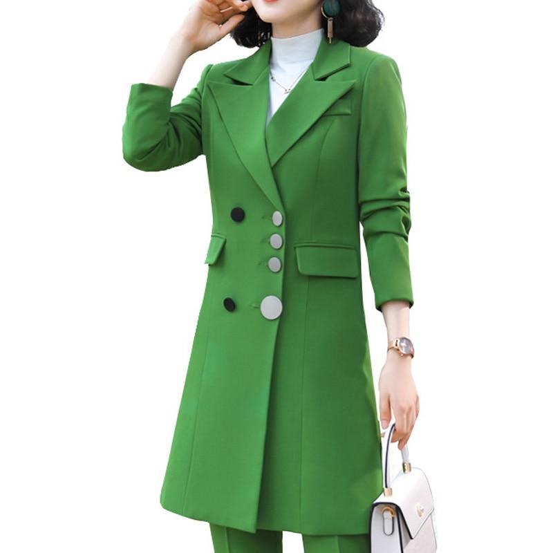 2020 Office Ladies Double Breasted Blazer Women Suit Jackets Long Solid Jacket Coats Streetwear Outerwear Blazer