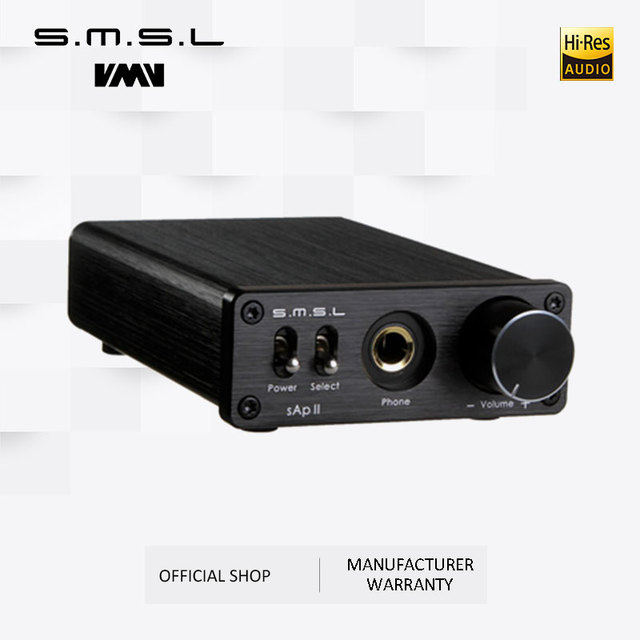 SMSL SAP II Portable Headphone Amplifier TPA6120A2 Big Power HiFi Fidelity Stereo Headphone Amplifier with 2 Ways switch inputs 1
