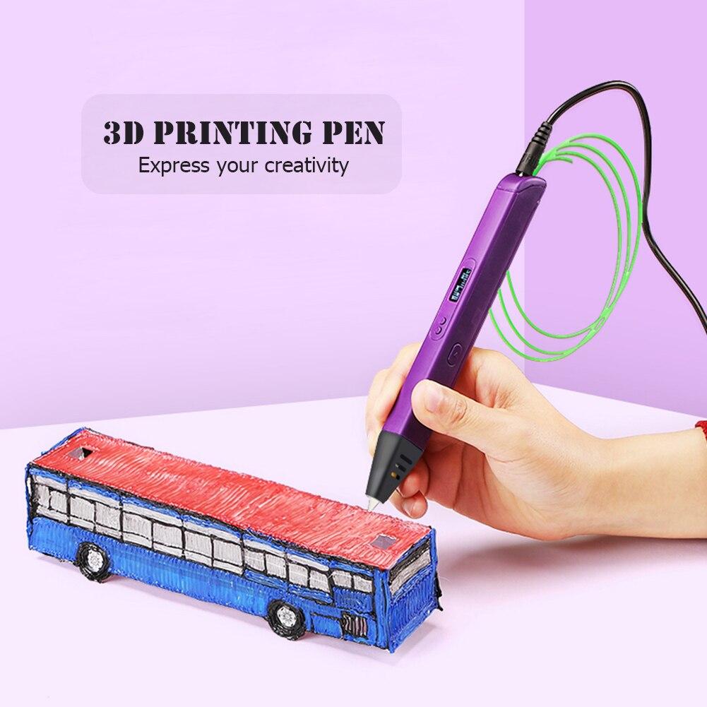 Bolígrafo profesional de impresión 3D RP800A con pantalla, lápiz de dibujo artístico para niños y adultos, regalo de cumpleaños para filamentos PLA ABS