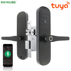 Raykube Tuya Aplikasi WIFI Kunci Pintu Elektronik Sidik Jari 13.56 M Hz Kartu Password Unlock Mortise Lock Uni Eropa US Standar Latch R-FG6 tuya