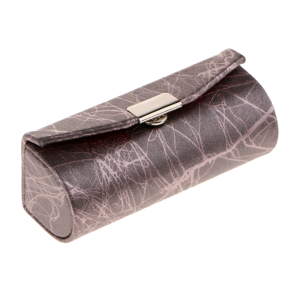 Soft Leather Lipstick Case Holder With Mirror,Chinese Traditional Cracked stone Design Makeup Jewelry Holder Box Lip