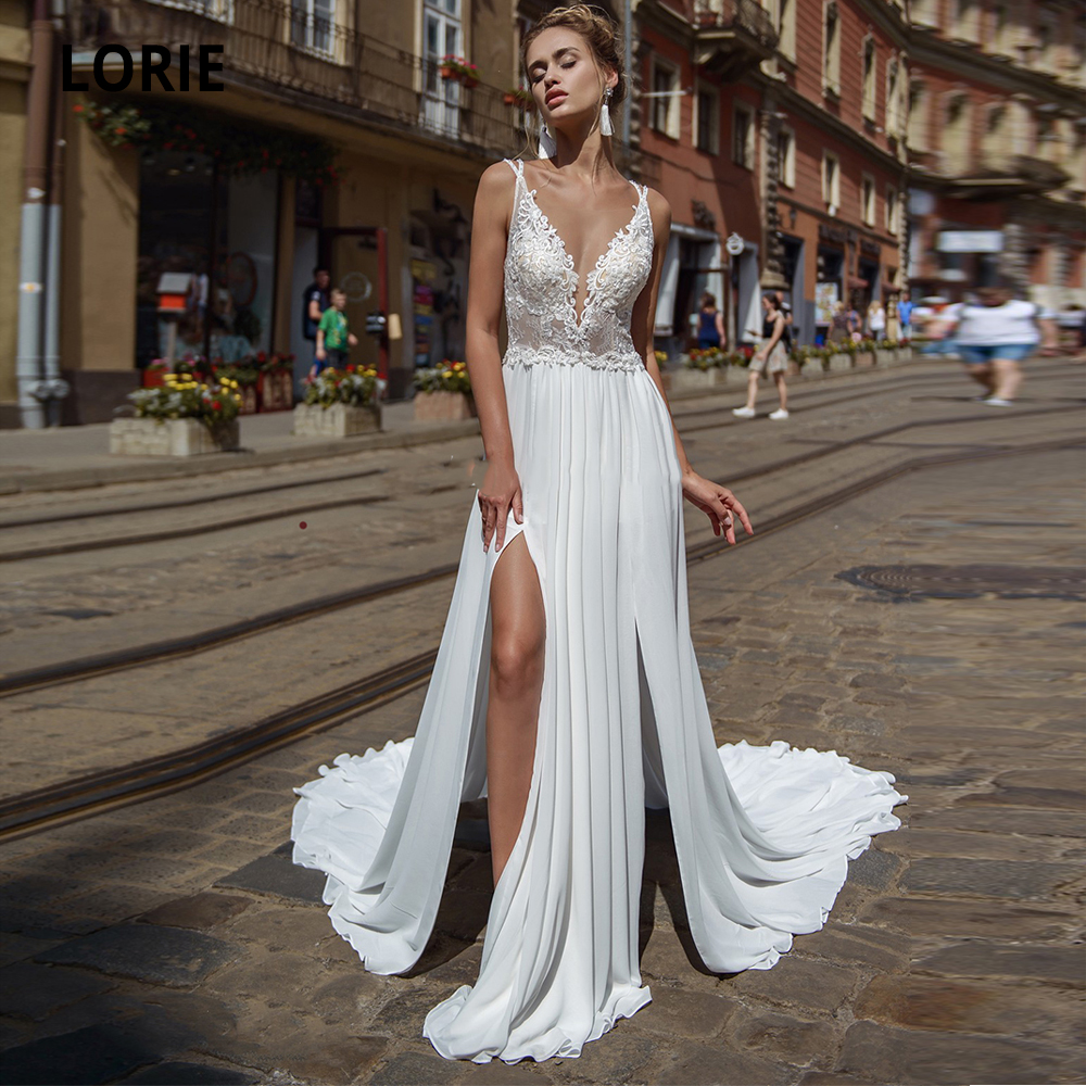 LORIE Elegant Lace Chiffon Wedding Dresses Boho 2019 Sleeveless Open Back Bridal Gowns Beach Wedding Gown With Split Plus Size