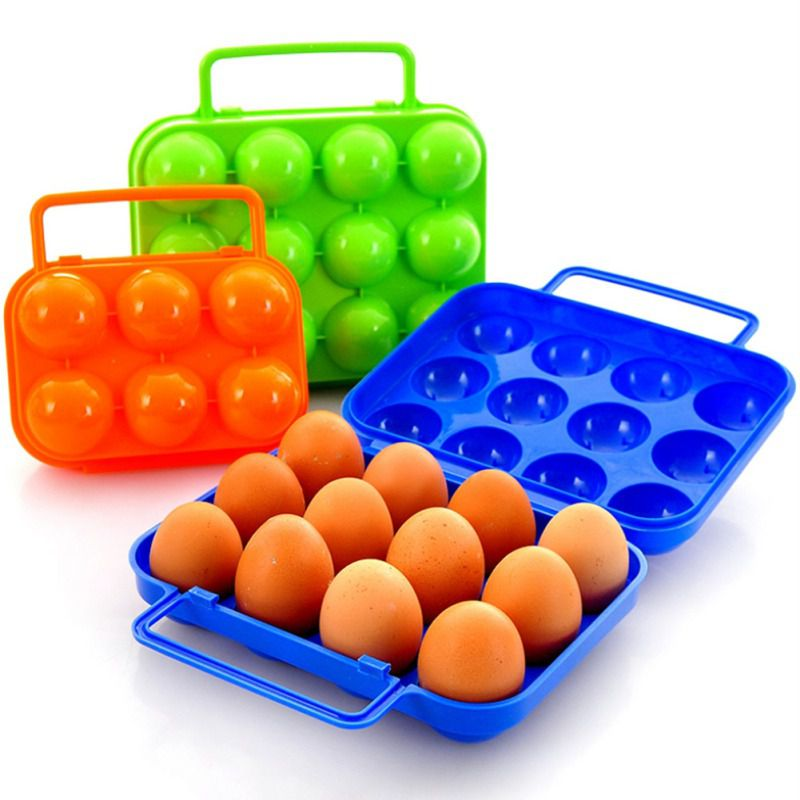 Camping Egg Storage Box 6 / 12 Grid Plastic Egg Tray Shockproof Portable Outdoor Carrying Container For BBQ Camping Accessories
