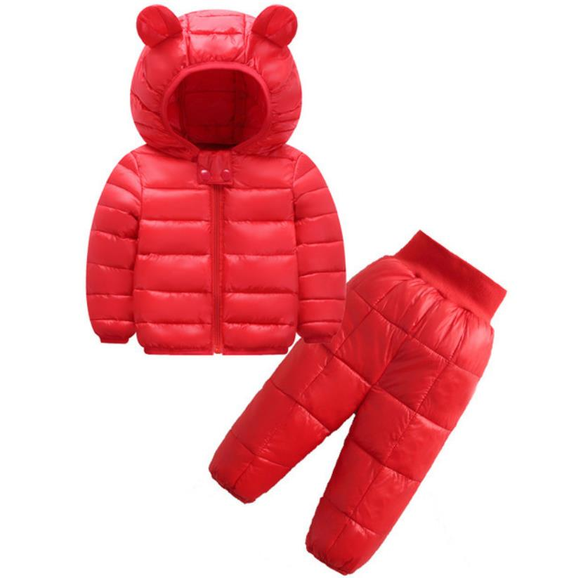 2021 New Children's Clothes Sets Winter Girls and Boys Hooded Down Jackets Coat-Pant Overalls Suit for Warm Kids Clothin 3