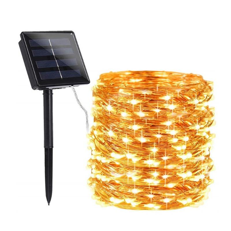 100/200 LED Solar Copper Wire String Lamp Led Strip Fairy Garland Outdoor Garden Decorative Light Wedding Christmas Decoration