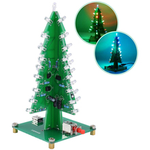 LED Flash 3 Colors Red/Green/Yellow Christmas Tree DIY Kits LED 3D Christmas Tree Circuit Board Electronic Suite Holiday Decor