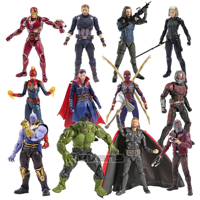 SHF Capitan Marvel In America Star Signore Dottor Strange Thanos Iron Man Ant Man Black Widow Hulk Thor Action Figure Giocattolo