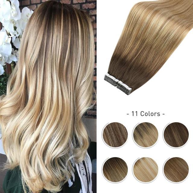 Горячая Распродажа балаяж, наращивание волос, лента из человеческих волос в машине, Реми, бразильский цвет Омбре, коричневый, светлый, двусторонний клей