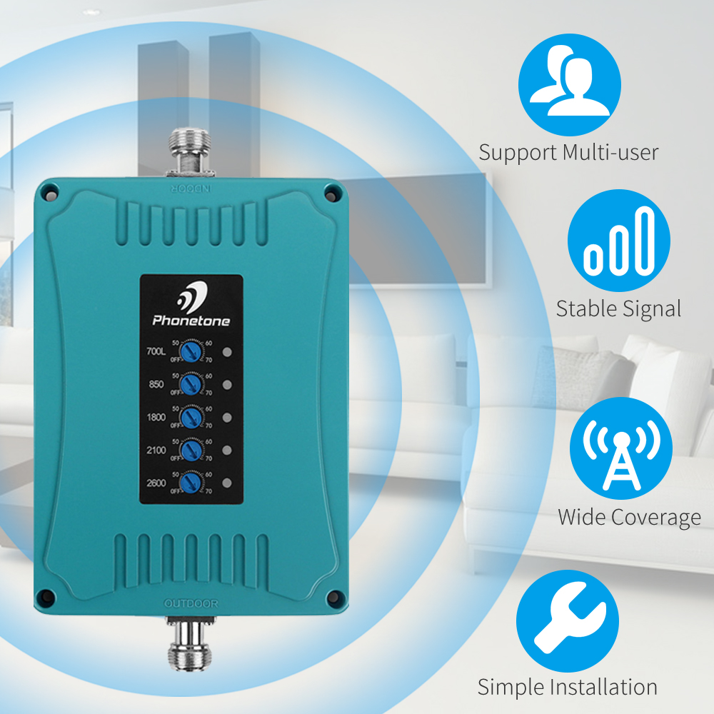 4g Signal Booster Cellular Signal Amplifier 3G 850/LTE 700/ 4G 1800/ UMTS 2100/2600 MHz 2G 3G 4G Five Band Mobile Phone Repeater